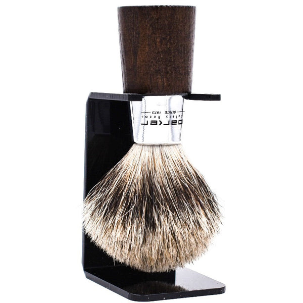 Walnut Handle Deluxe Pure Badger Shave Brush & Stand (WNPB) - by Parker