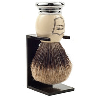 White and Chrome Handle Best Badger Shaving Brush and Stand (WCPB) - by Parker