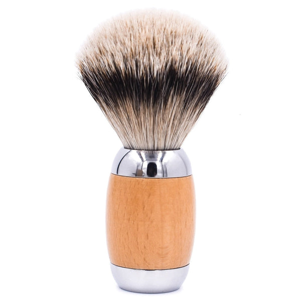 Wood & Chrome Handle Silvertip Badger Shave Brush & Stand (TSBST) - by Taconic Shave