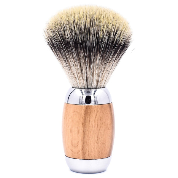 Beechwood & Chrome Handle Synthetic Shave Brush & Stand (TSBSY) - by Taconic Shave