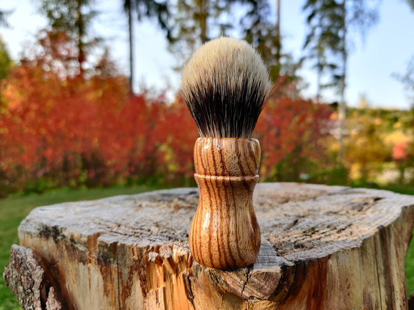 Zebrano Wood Shaving Brush with 24mm Bulb Knot - by TonmiKo