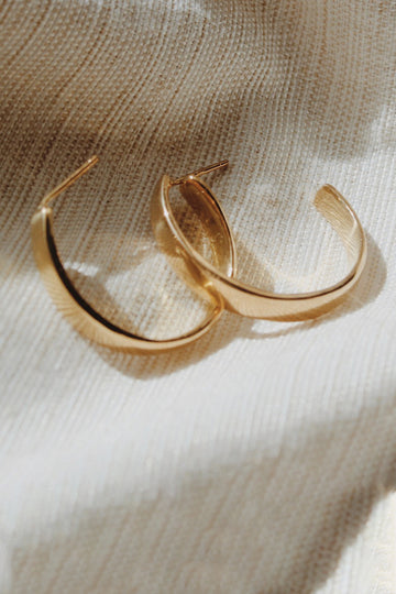 Sadie Jo Jewelry Co. Chunky Domed Hoops in 14k Gold Plated