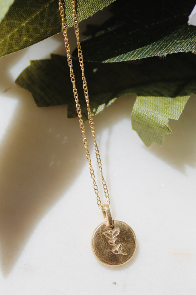 Sadie Jo Jewelry Co. Etched Peony Pendant in 14K Gold