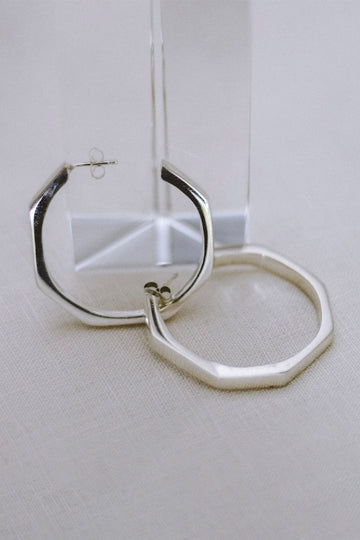 Sadie Jo Jewelry Co. Chunky Hex Hoops in Silver