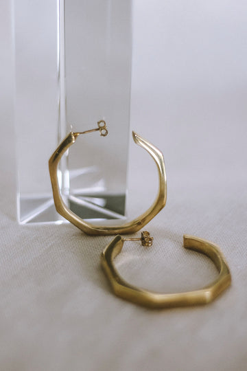Chunky Hex Hoops in Gold