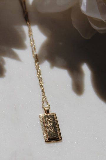 Sadie Jo Jewelry Co. Fern Cartouche Pendant in 14K Gold