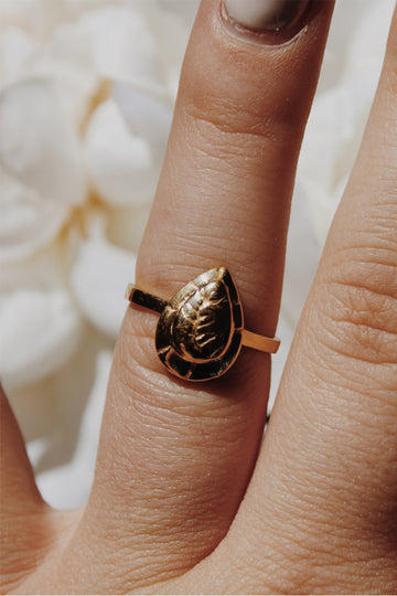 Sadie Jo Jewelry Co. Fern Etched Ring in 14K Gold