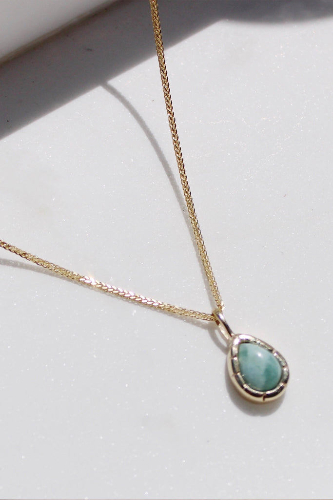 Sadie Jo Jewelry Co. Teardrop Larimar Pendant Necklace in 10k Gold