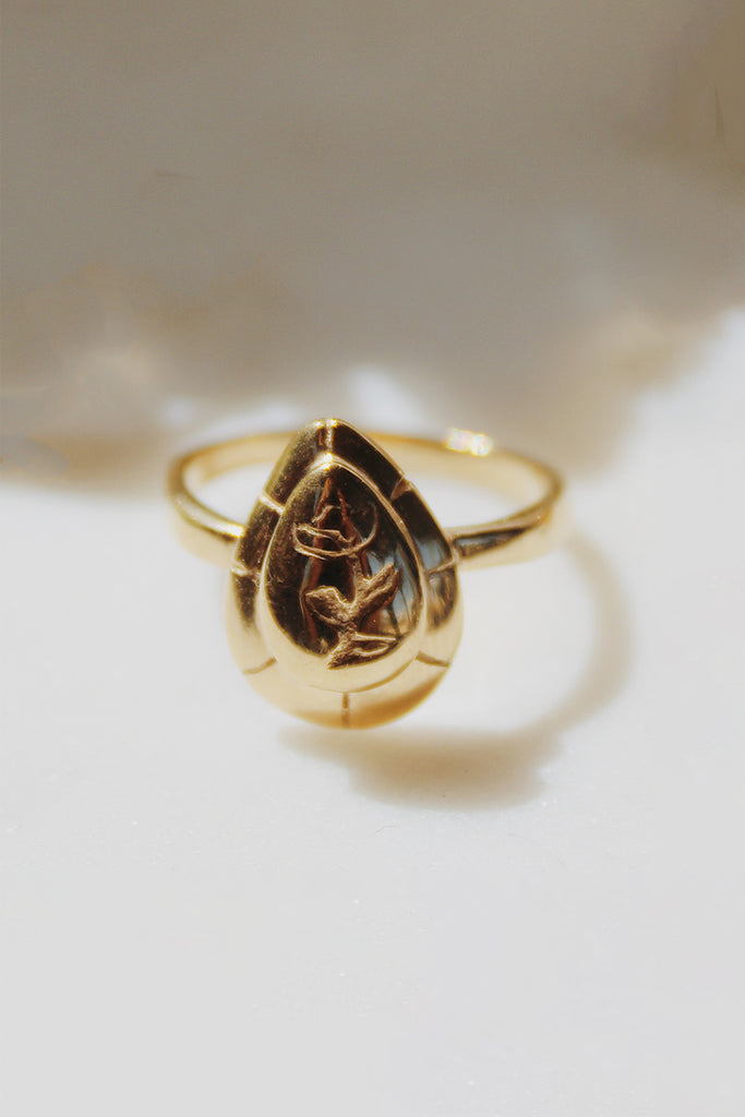 Sadie Jo Jewelry Co. Peony Signet Ring in 14K Gold