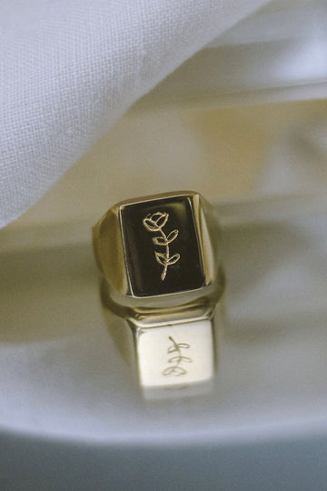 Sadie Jo Jewelry Co. Peony Signet Ring in Gold