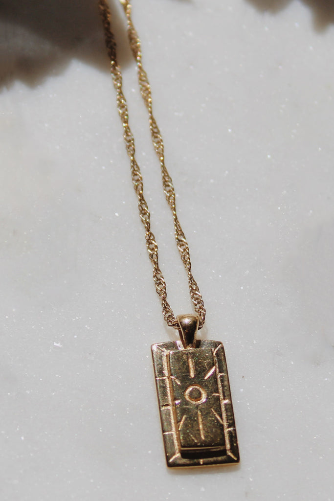 Sadie Jo Jewelry Co. Sun Cartouche Pendant in 14K Gold