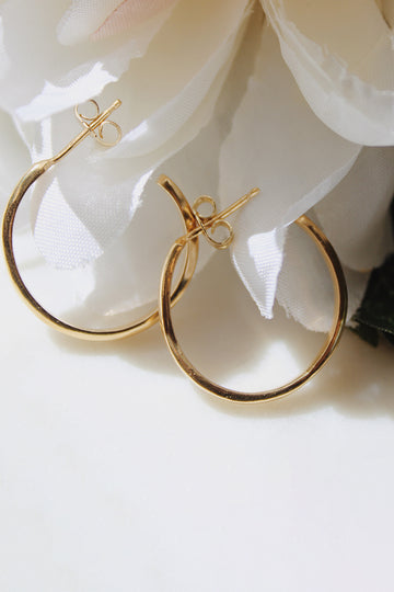 Sadie Jo Jewelry Co. Thin Domed Hoops in 14K Gold