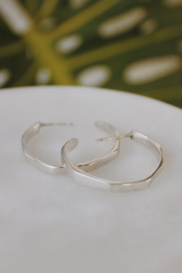 Sadie Jo Jewelry Co. Hexagonal Hoops in Silver