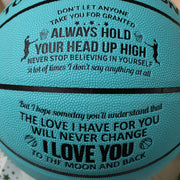 To My Daughter - I Love You To The Moon And Back - Basketball Light Blue