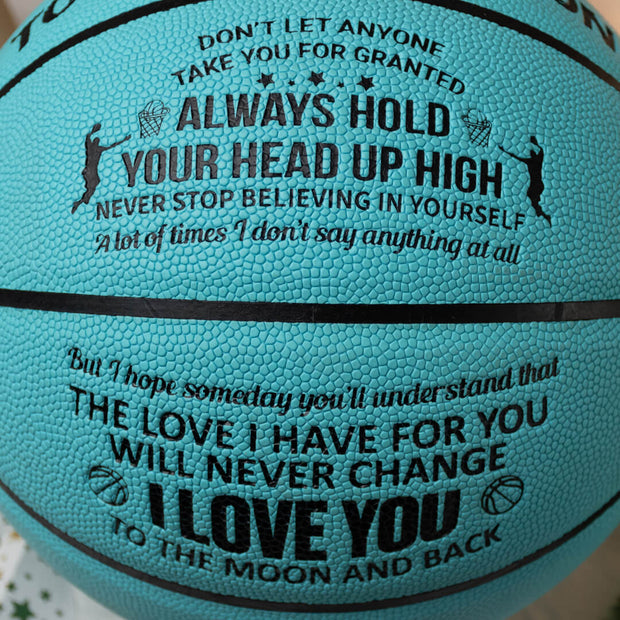 To My Son - I Love You To The Moon And Back - Basketball Light Blue