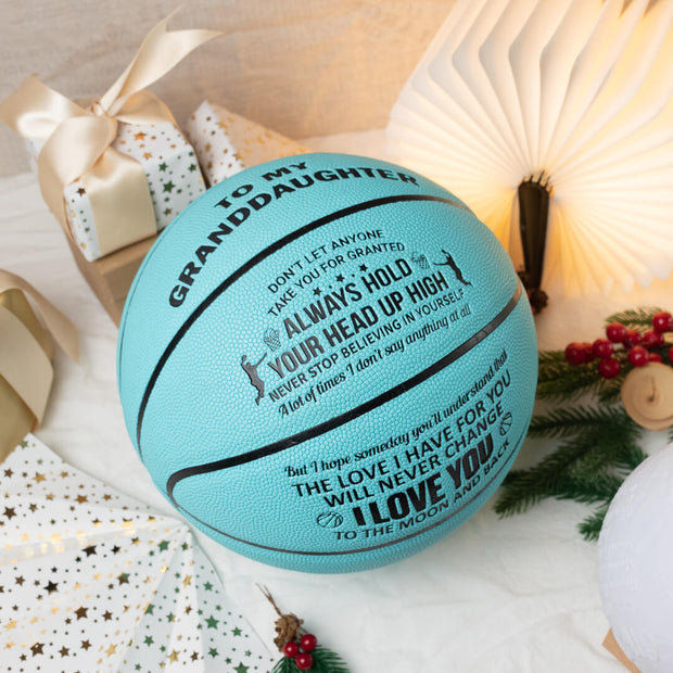 To My Granddaughter - I Love You To The Moon And Back - Basketball Light Blue