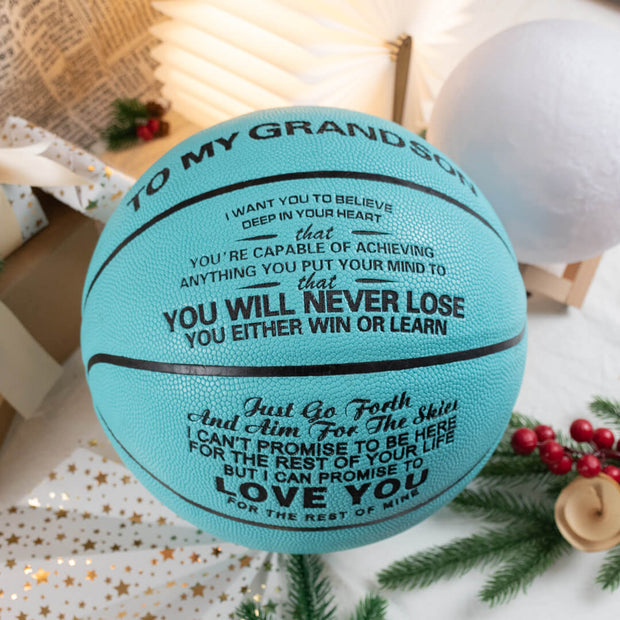 To My GrandSon - You Will Never Lose -  Basketball Light Blue