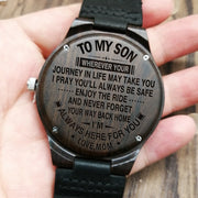 MOM TO SON - WHEREVER YOUR | ENGRAVED WOODEN WATCH