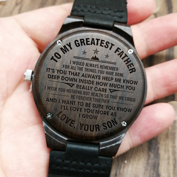 TO MY GREATEST FATHER | ENGRAVED WOODEN WATCH