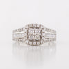 Round Diamond Quadrant Halo and Baguette Ring