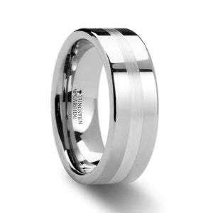 Men's Pipe Cut Tungsten Carbide Ring with Silver Inlaid (Thorsten)