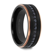 Load image into Gallery viewer, ASTRO Brushed Black Titanium Ring with Black Sapphires