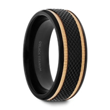 BAROQUE Black Titanium Diamond Pattern Men's Wedding Ring with Gold Milgrain