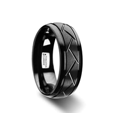 ENIGMA Men's Black Tungsten Ring with Diagonal Cuts Wedding Ring (Thorsten)