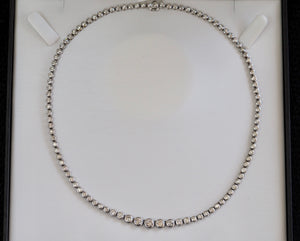 7 Carat Round Brilliant Diamond Tennis Necklace