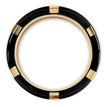 Load image into Gallery viewer, MURAMASA Brushed Black Wedding Band with Gold Plated Bezels and Black Diamonds (Thorsten)