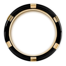 MURAMASA Brushed Black Wedding Band with Gold Plated Bezels and Black Diamonds (Thorsten)