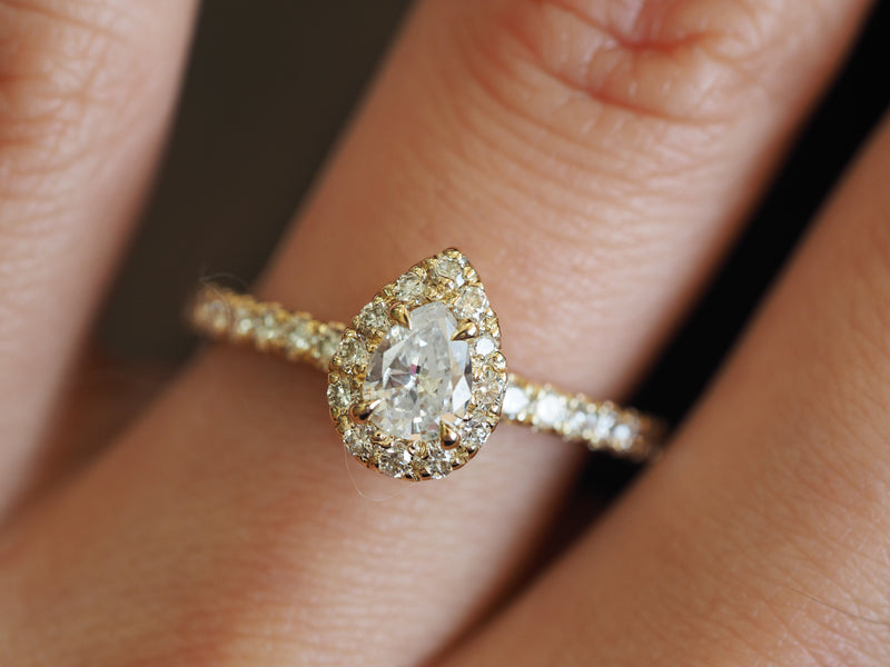 Pear Cut Diamond 14K Gold Halo Engagement Ring