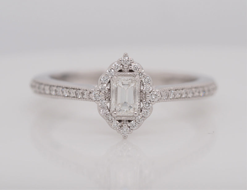 Emerald Cut Diamond Halo Engagement Ring