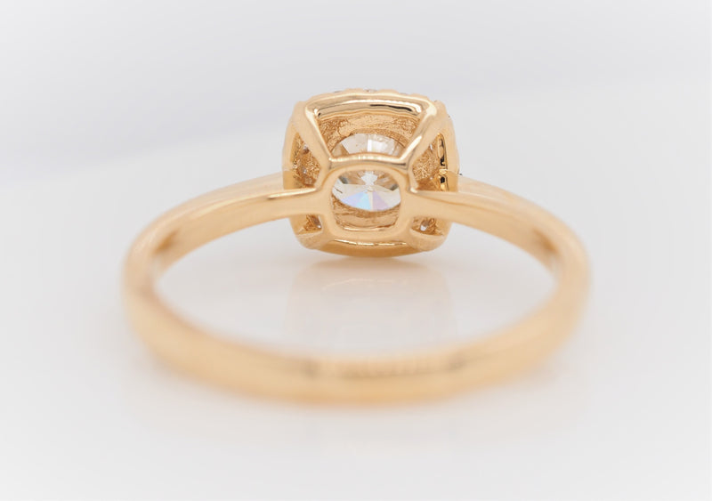 Round Cut Diamond 18K Yellow Gold Halo Engagement Ring