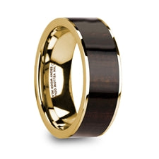 SYMEON Men's 14K Yellow Gold with Ebony Wood Inlay Wedding Band