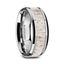 WHITETAIL Tungsten Carbide Men's Wedding Band with Deer Antler Inlay (Thorsten)
