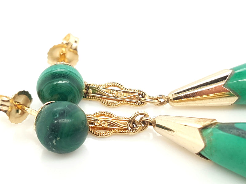 14 Karat Yellow Gold Green Malachite Drop Earrings, circa 1980s