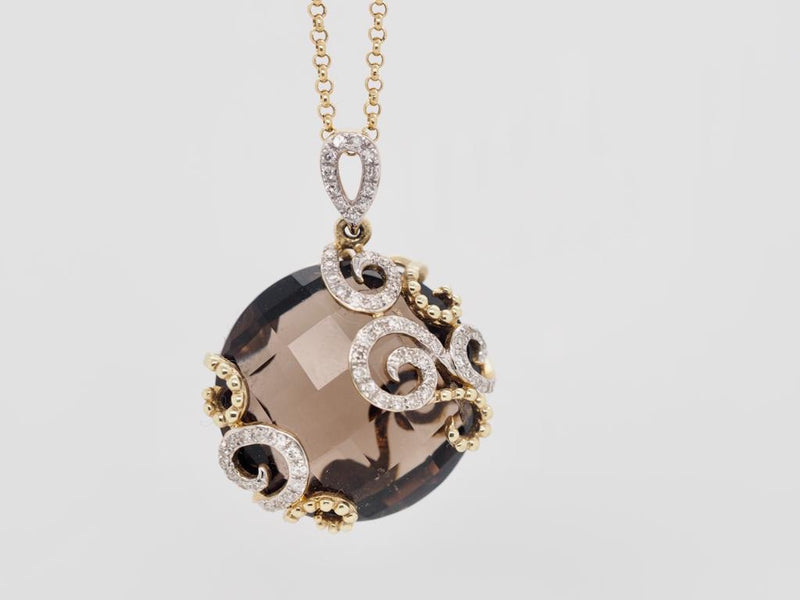 Smokey Quartz Pendant in Yellow Gold