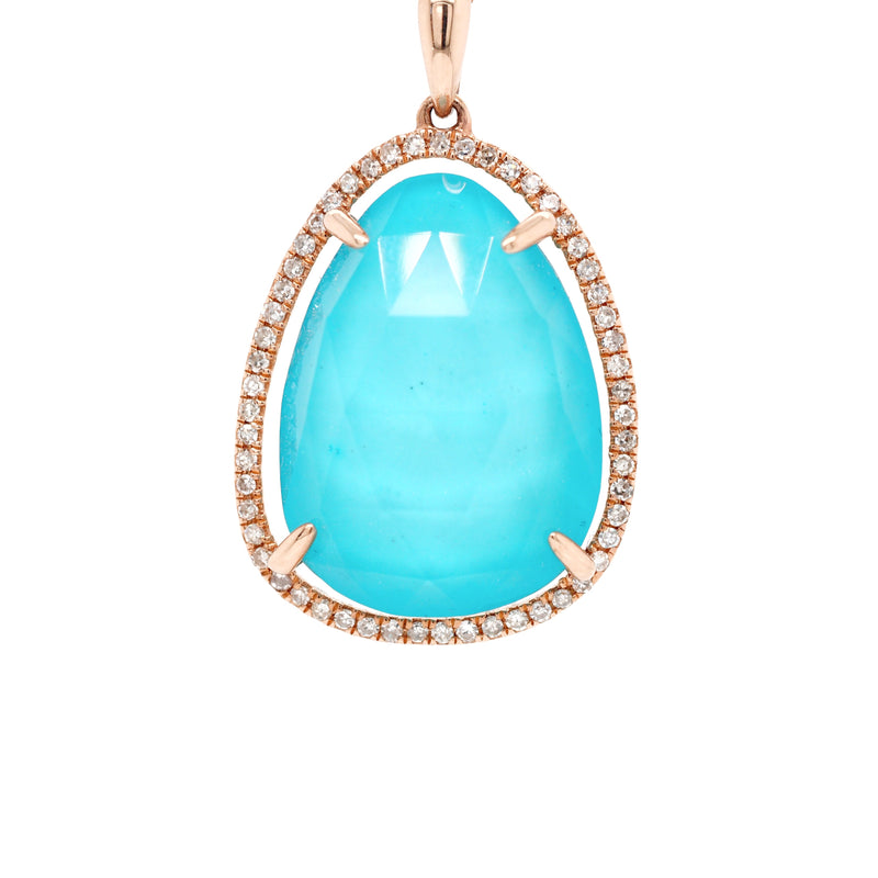 Turquoise and Diamond Pendant in Rose Gold