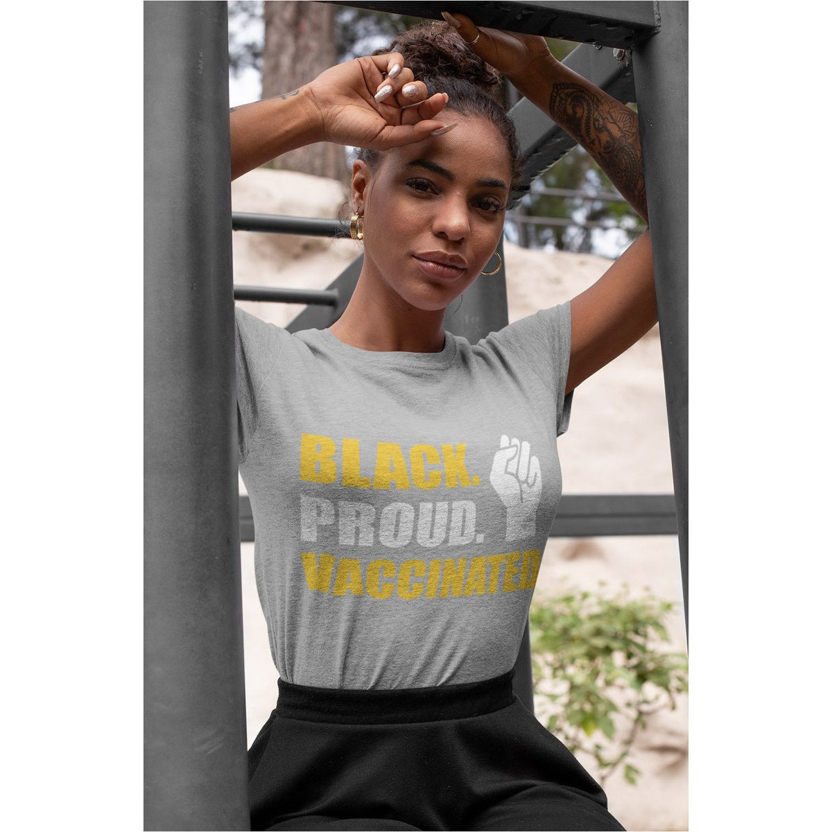 BLACK. PROUD. VACCINATED. Premium Women's T-Shirt