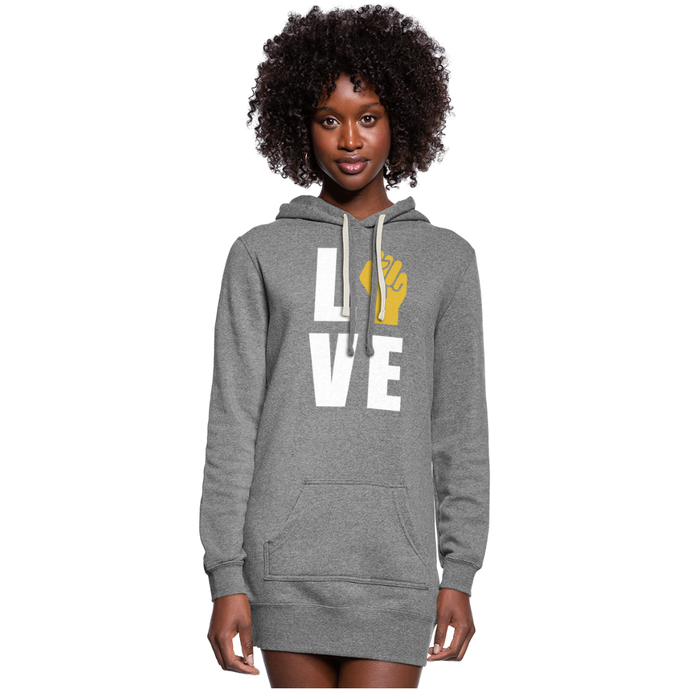 LOVE Women's Hoodie Dress - heather gray