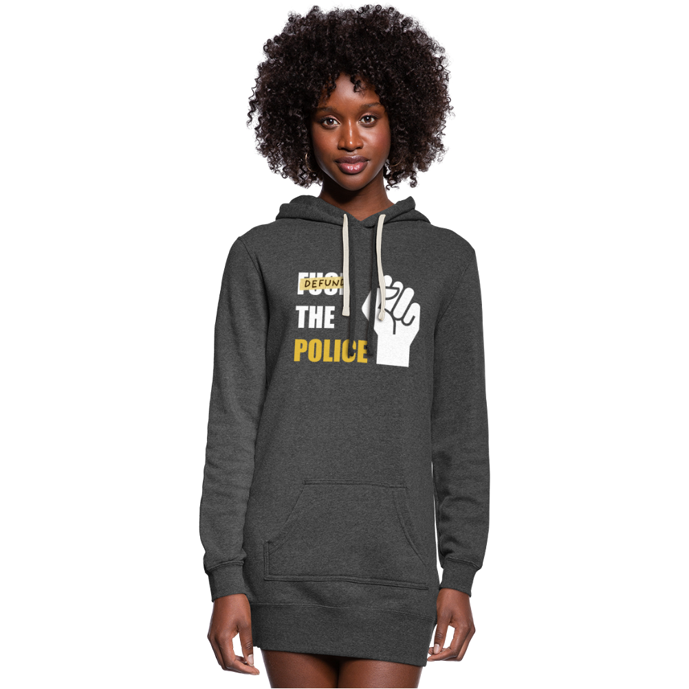 Defund the Police Women's Hoodie Dress - heather black