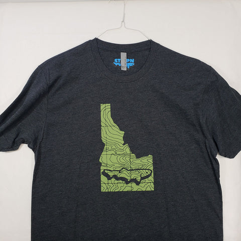 Large Idaho Topo Trout T shirt $8 Fly Fishing T shirt - Stripn Flywear