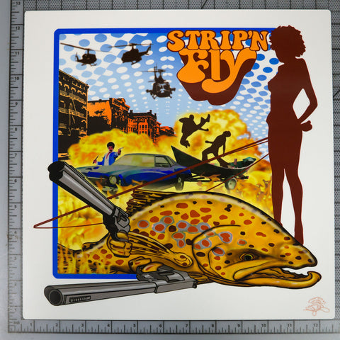 "Superfly 12""x12"" Metal Print $30 Yard Sale Art - Stripn Flywear"