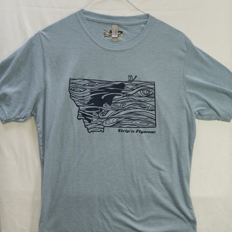 Large Montana Rise T shirt $8 Fly Fishing T shirt - Stripn Flywear