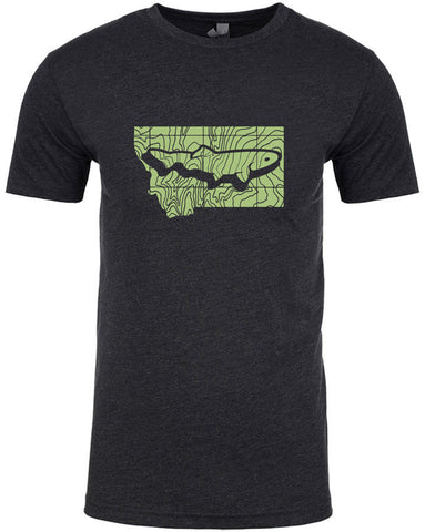Montana Topo Trout T shirt Fly Fishing T shirt - Stripn Flywear