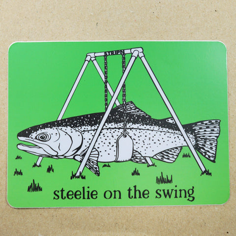 "Steelie Swing Sticker 5"" x 3.75 Fly Fishing Sticker - Stripn Flywear"