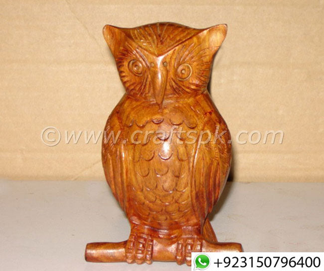 Hand Carved Wood Owl Sculpture