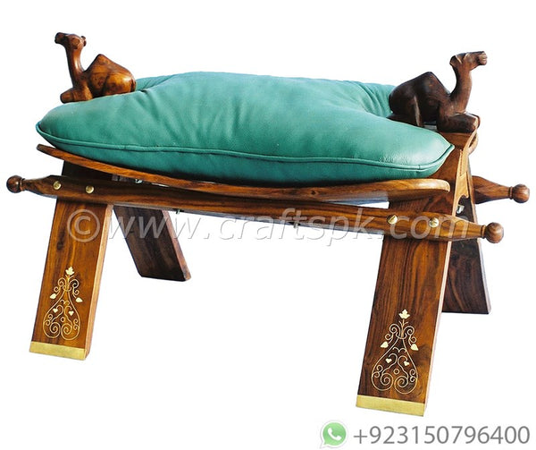 Handmade Wooden Camel Saddle Footstool - Crafts PK
