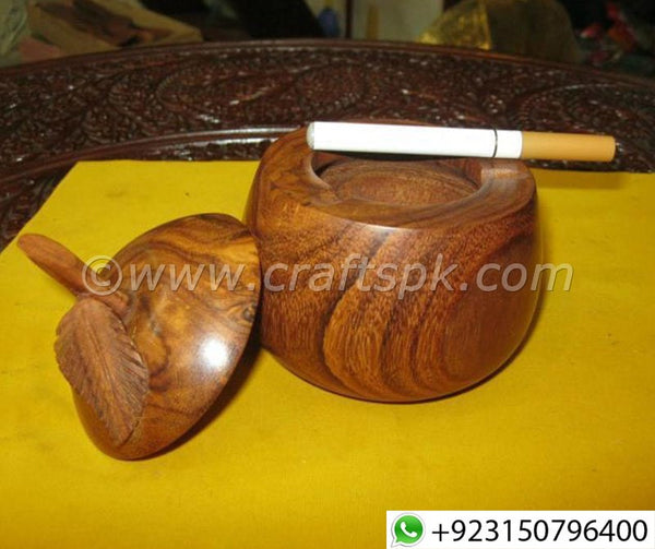 Handmade Apple Shape Wooden Cigarette Ashtray - Crafts PK